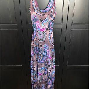 Multi print backless maxi dress
